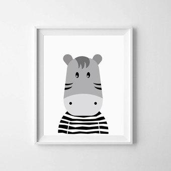 Kinderposter nijlpaardje met lijst A4