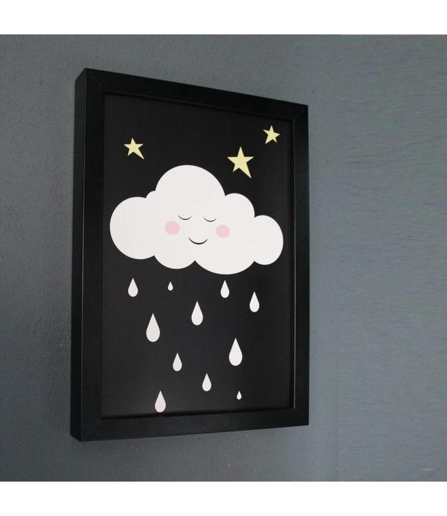 Kinderposter wolkje met roze wangetjes met lijst A4