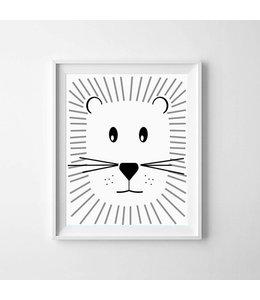 Kinderposter schattige leeuw met lijst A4