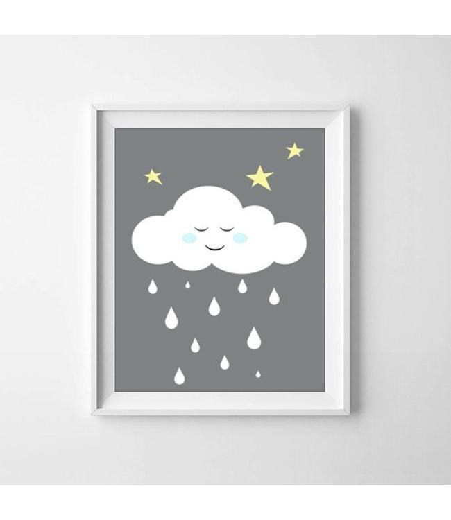 Kinderposter wolkje met blauwe wangetjes met lijst A4