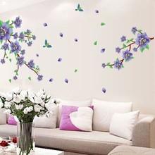 Muursticker twee paarse bloementakken met vogels