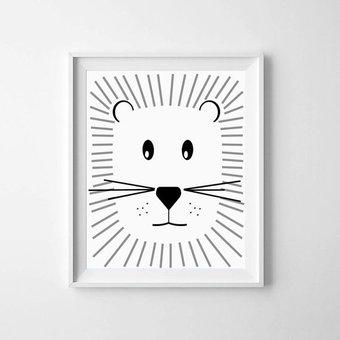 Kinderposter schattige leeuw A3
