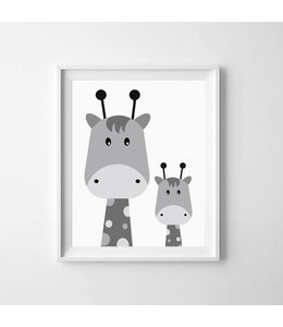 Kinderposter twee giraffejes A3