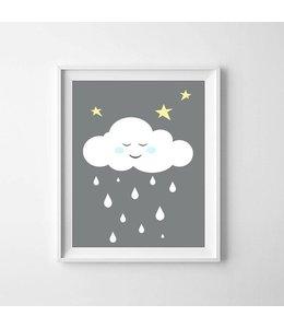 Kinderposter wolkje blauwe wangetjes A3
