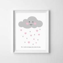 Kinderposter wolkje met hartjes A3