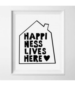 Kinderposter happiness lives here 2 A3