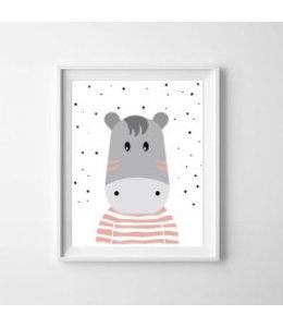 Kinderposter nijlpaardje kleur