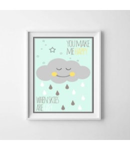 Kinderposter happy cloud mint