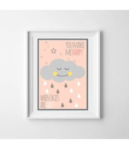 Kinderposter happy cloud roze A3