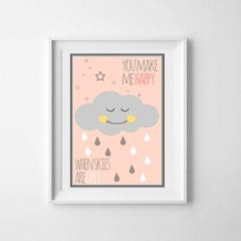 Kinderposter happy cloud roze A3