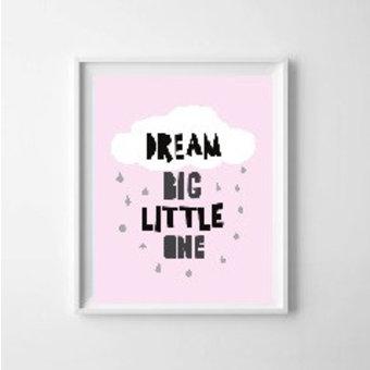 Kinderposter dream big roze A3