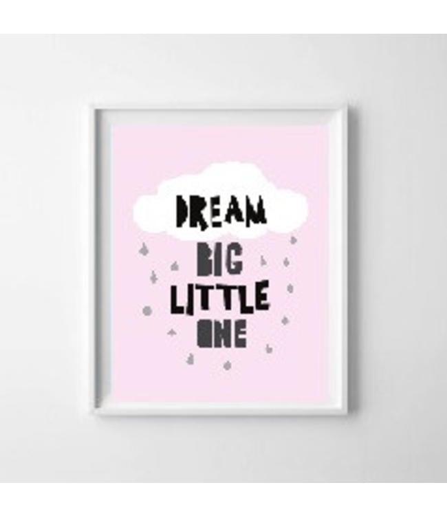 Kinderposter dream big roze