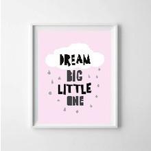 Kinderposter dream big roze met lijst A4