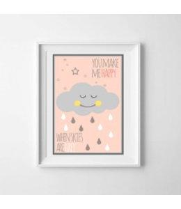 Kinderposter happy cloud roze met lijst A4