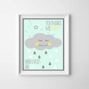Kinderposter happy cloud mint met lijst A4