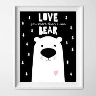 Kinderposter love beer wit roze met lijst A4