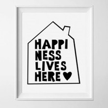 Kinderposter happiness lives here 2 met lijst A4
