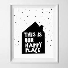 Kinderposter happy place met lijst A4