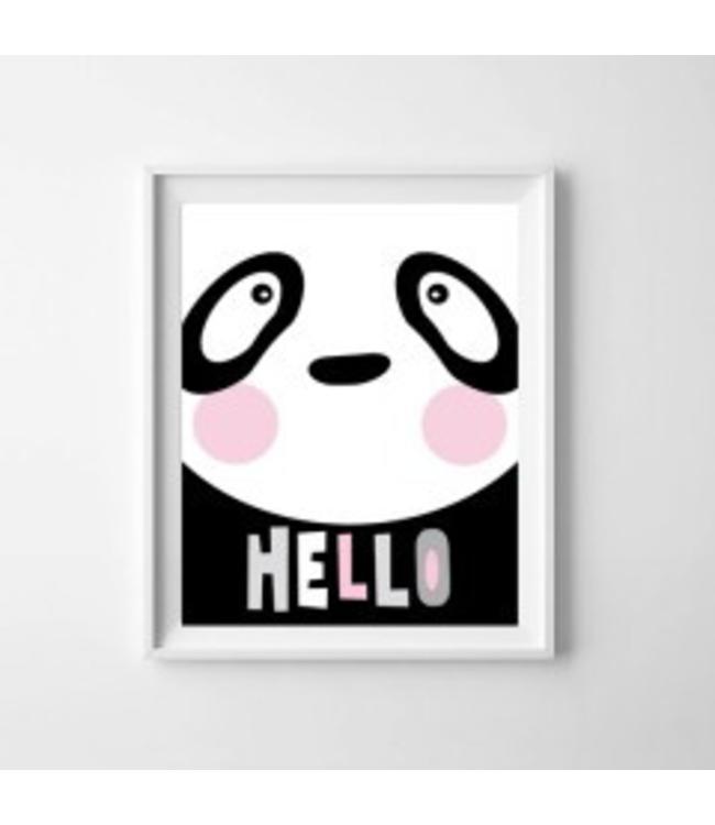 Kinderposter lieve panda met lijst A4