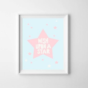 Kinderposter ster roze A3