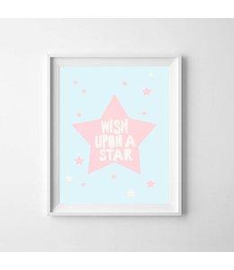Kinderposter ster roze met lijst A4