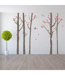 Muursticker boomstammen met vogeltjes
