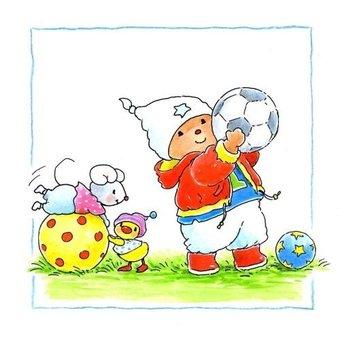 Muursticker Baby Bobbi als voetballer