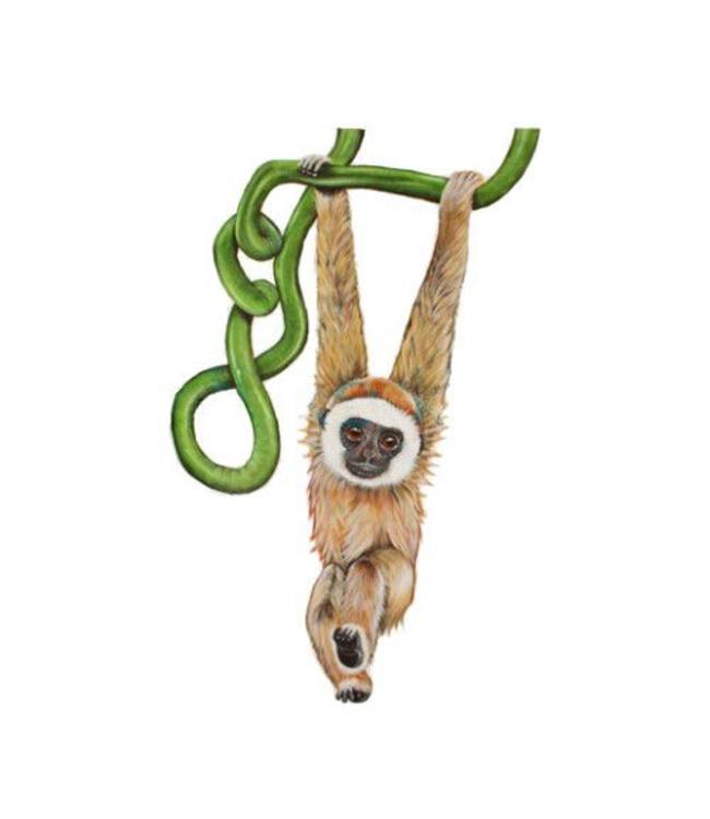 Muursticker lief aapje hangend aan liaan