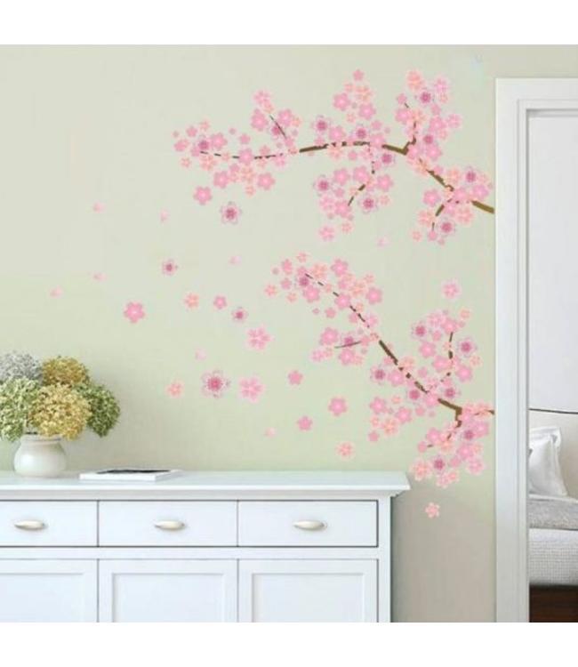 Muursticker mooie takken met roze bloemen
