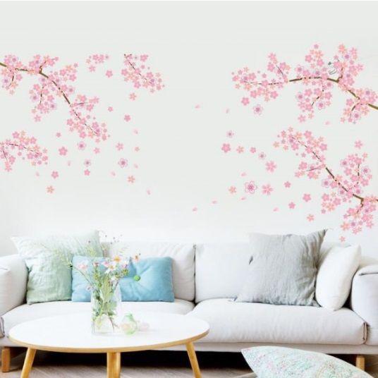 Muursticker mooie takken met roze bloemen - muurstickers slaapkamer ...