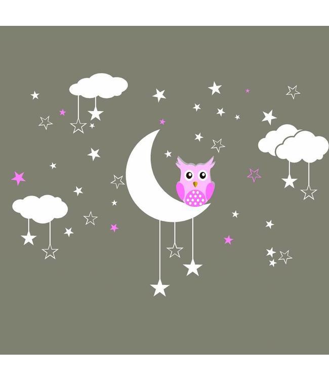 Muursticker maan, wolken en sterren met uiltje