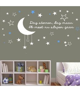 Muursticker dag sterren dag maan ik moet nu slapen gaan