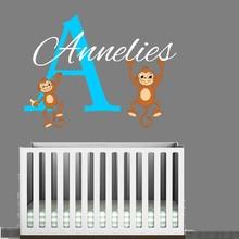 Muursticker naam met aapjes versie 2