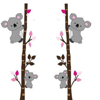 Muursticker boompjes met koalabeertjes