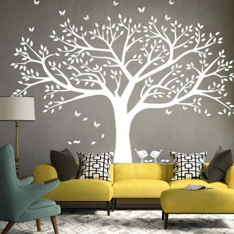 muursticker grote boom - muurstickers woonkamer slaapkamer, Deco ideeën