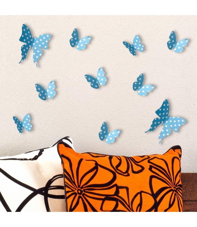 3D vlinders blauw met stippen