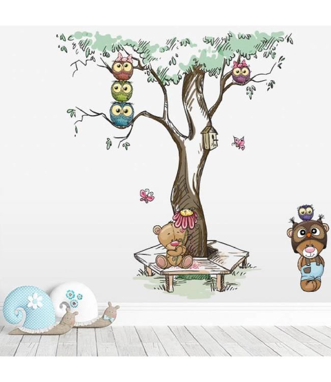 Muursticker boom met uiltjes en beertjes