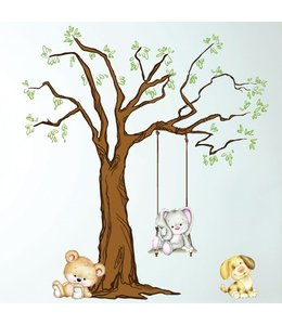 Muursticker boom met schattige diertjes