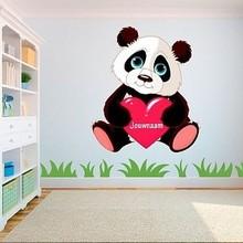 Muursticker panda beer met naam