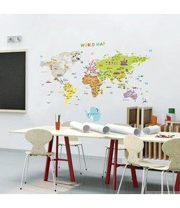 Muursticker wereldkaart kinderen XL