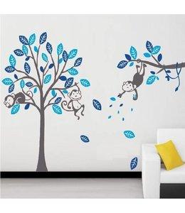 Muursticker boom met aapjes blauw - grijze stam