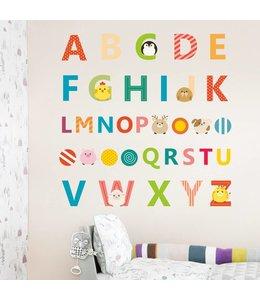 Muursticker alfabet met diertjes
