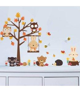 Muursticker herfstboompje met diertjes