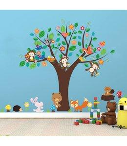 Muursticker kleurrijke boom met bosdiertjes