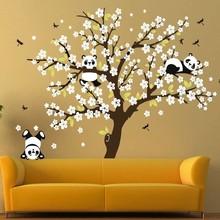 Muursticker boom met pandabeertjes