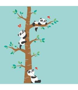 Muursticker schattige pandabeertjes op boom