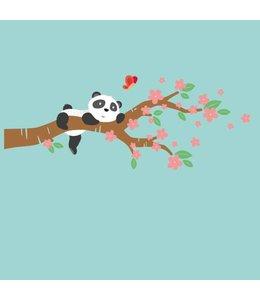 Muursticker lieve pandabeer op bloesemtak