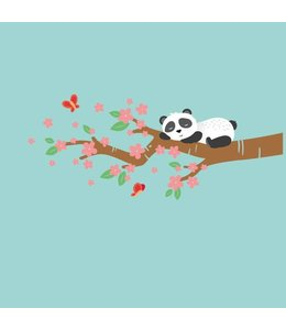 Muursticker slapende pandabeer op bloesemtak