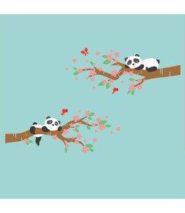 Muursticker twee bloesemtakken met pandabeertjes