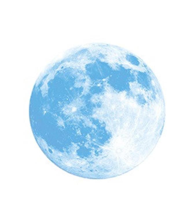 Muursticker glow in the dark maan blauw